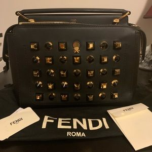 Fendi DOTCOM Studs Calfskin Leather Satchel